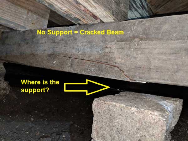 When support is lost it can lead to cracked support beams and additional damage to the frame of the house.